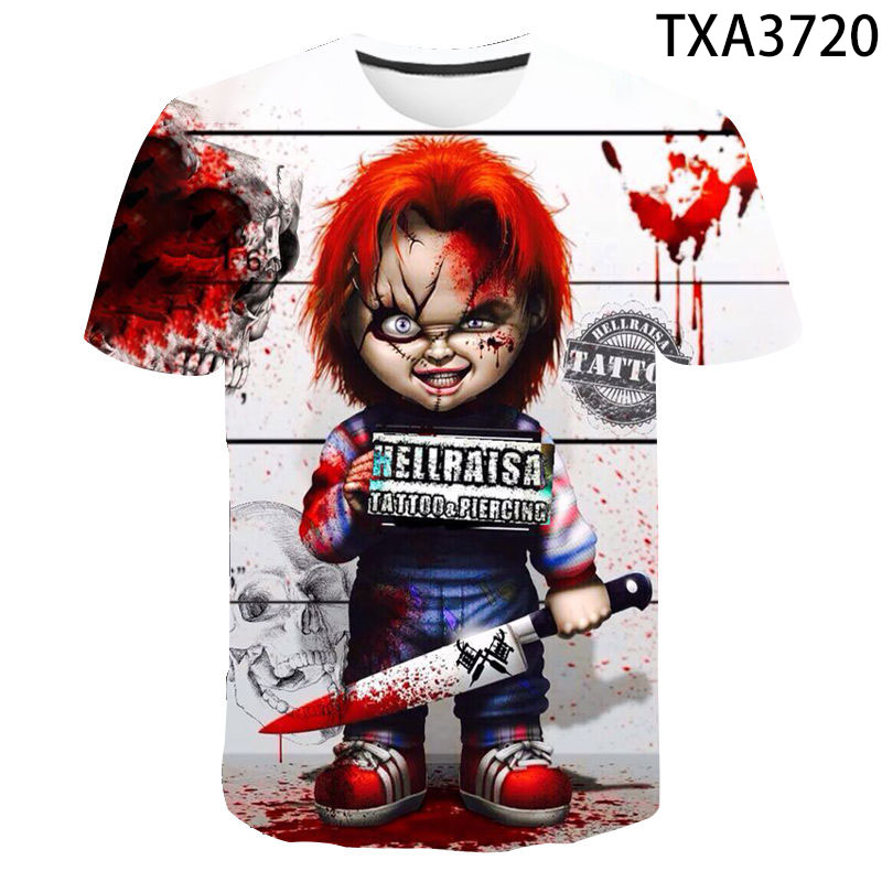 Новинка 2020, летние футболки с объемным рисунком Чаки, повседневные футболки для мальчиков и девочек, модная уличная одежда, футболки с принт...