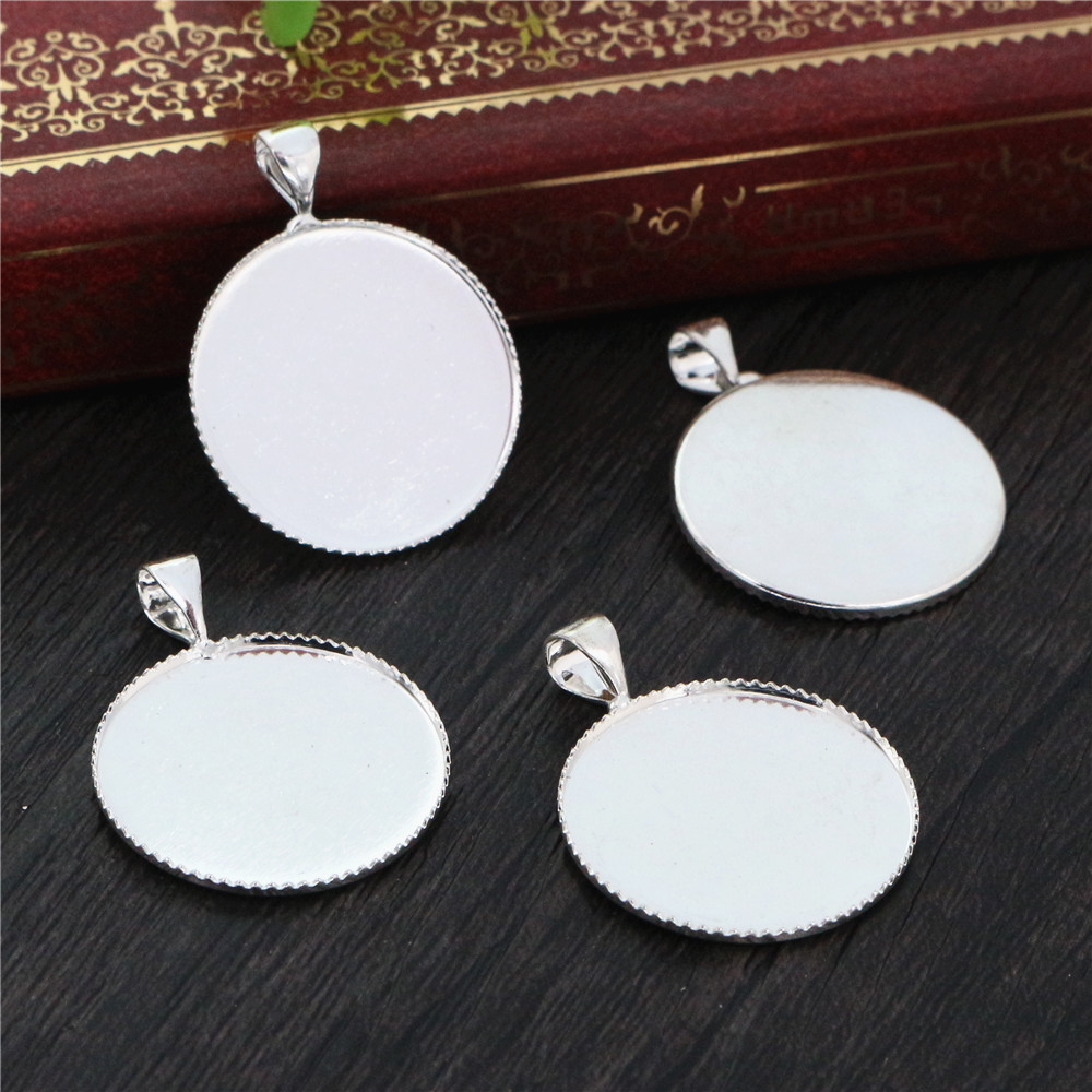 10pcs/lot Fit 20mm Cabochons Silver Plated Cabochon Base Blank Tray Cameo Setting Necklace Bracelet Pendant Charms (D3-79)