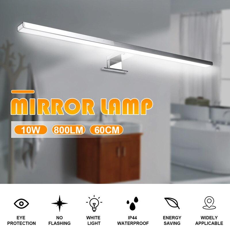 10 w 800lm mais longo led espelho lampada de parede luz parede branca 60cm a prova