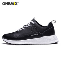 ONEMIX 2020 New Men Running Shoes Leather Lace Up Trainers DMX Man Walking Jogging Sneakers in Fitness Trekking Shoes