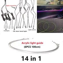 14-в-1: RGB светодиодный атмосферу автомобильный светильник Интерьер окружающего светильник из акрилового волокна ленты оптического светильн...