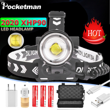 400000Lumen NEW XHP90.2 Headlamp LED Fishing Headlight Ultra Powerful Head Lamp Zoomable USB Flashlight 18650 Light Camp Lantern