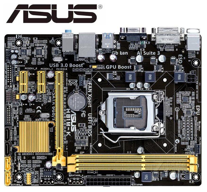 Used ASUS H81M-K Motherboard Micro ATX H81M-K LGA 1150 Systemboard H81M DDR3 For Intel H81 16GB Desktop Mainboard USB 3.0 H81MK