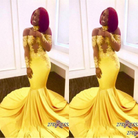 2020 Yellow African Mermaid Prom Dresses Long Lace Off Shoulder Long Sleeves See Through Sweep Train Formal Evening Party dress