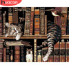 HUACAN Painting By Numbers Cat Animals HandPainted Kits Drawing Canvas Bookshelf Pictures Home Decoration DIY Gift