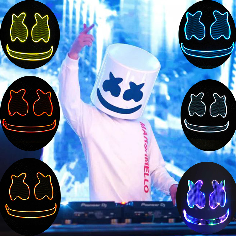 DJ Marshmallo LED Luminous Helmet Mask Cosplay Props Unisex DIY Bar Music Party Marshmello Masks