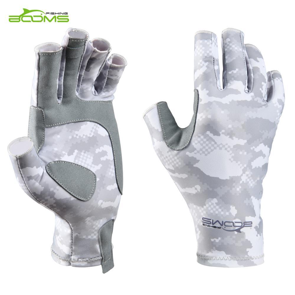 Booms Fishing FG2 Fishing Half Finger Fingerless Gloves, Fly Fishing Anti-UV Sun Protection UPF50+ Anti-slip Breathable Outdoor