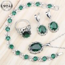 Nupcial verde zircão feminino traje 925 conjuntos de jóias de prata colar anéis brincos conjunto com pedras pulseiras jóias caixa de presente