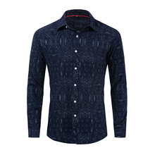 Mens Spring and Autumn Large Size New Shirt Summer Cotton Long Sleeve Print