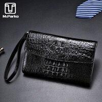 McParko Crocodile Envelope Wallet Clutch Bag Men Genuine Leather Wallet Luxury Brand 3 fold Card Holder Wallet Long Purse Hand Clutches Businessman Gift