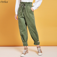 ARTKA 2019 Autumn Winter New Women Pants High Waist Casual Pants Corduroy Cargo Pants Fashion Joggers Women KA10099Q