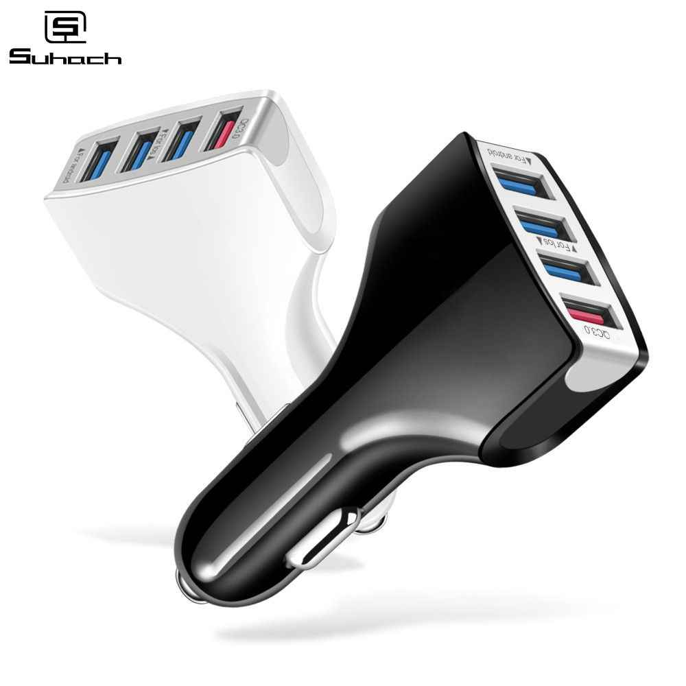Suhach Quick Charger 3.0 Car Charger Adapter 7A QC3.0 Turbo Fast Charging 4 USB Car Mobile Phone Charger for iPhone Xiaomi