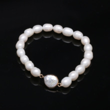 Natural Freshwater Pearls Button Shape Pearl Pendants Bracelets Jewelry Accessories For Women length 19cm Pendant Size 8-9mm 2020 natural freshwater pearls rice shaped pearl agates beads bracelets jewelry accessories party for women gift length 19cm