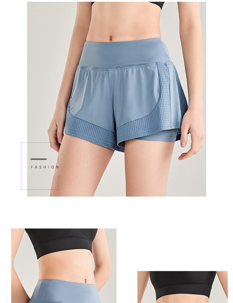 Shorts Women Workout Shorts High Waisted Running Shorts Double Layer Quick-drying Athletic Yoga Shorts Fitness Shorts (13)