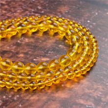 Fashion Yellow Glass Round Beads Loose Jewelry Stone 4/6/8/10 / 12mm Suitable For Making Jewelry DIY Bracelet Necklace