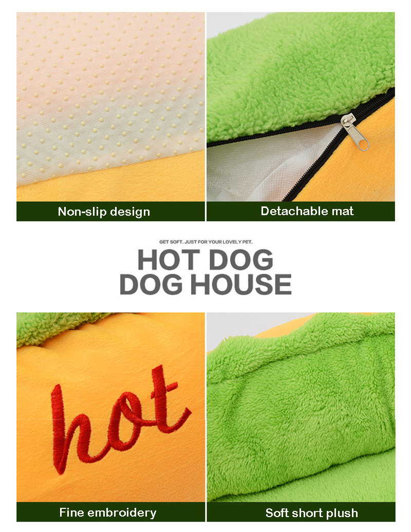 Funny Hot Dog Bed Winter Warm Pet House Creative Fashion Sofa Cushion Supplies Puppy Cat Soft Sleeping Mat Cozy Dogs Nest Kennel
