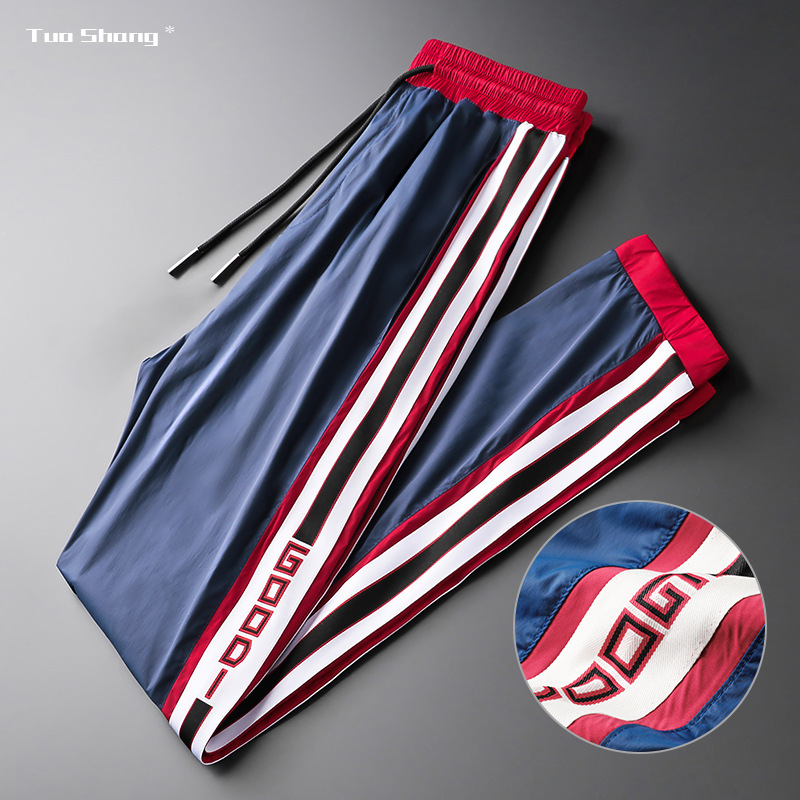 Plus Size Mens Jogger Pencil Pants New Brand Drawstring Sports Pants Street Fashion Side Stripe Designer Joggers Trousers Men
