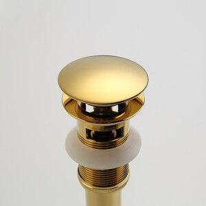 Image 3 - Латунная раковина, всплывающая сливная пробка из латуни, Золотая сливная пробка для ванной комнаты, всплывающее сливное отверстие с переливом и без