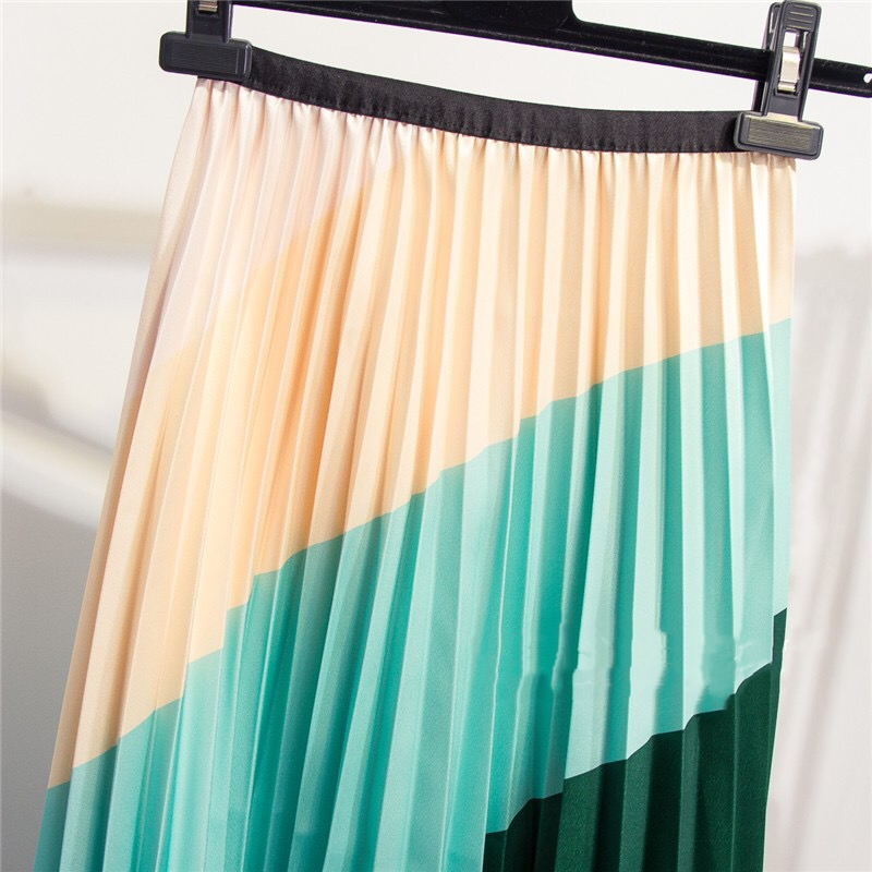 Marwin 2019 New-coming Spring Rainbow Discoloration Silk surface Retro Women Skirts High Street Style A-Line Striped Skirts