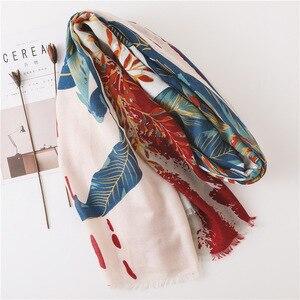 Image 3 - Borla de algodón para bufanda de verano de gran tamaño patrón de flores protector solar chal grande de seda toalla o pañuelo de playa para mujer