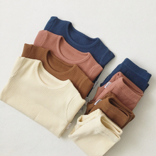 Toddler 2019 Hot Sale Children Clothes For Boys Girls Ribbed Set With Full Sleeve Kids Soft Autumn Winter Cloth Baby Pants 2 Pcs