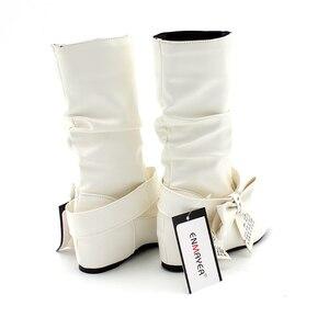 Image 4 - Новые дамские весенне осенние ботинки «ENMAYER» с бантом на плоской подошве Дамские ботинки до середины икры в 4 расцветках Большие размеры (34–47)