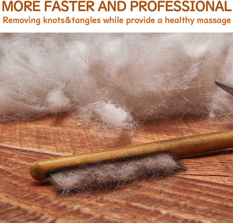 Benepaw 전문 개 빗 편안한 나무 손잡이 짧은 긴 치아 애완 동물 빗 매트 느슨한 머리 매듭 엉킴 제거를위한