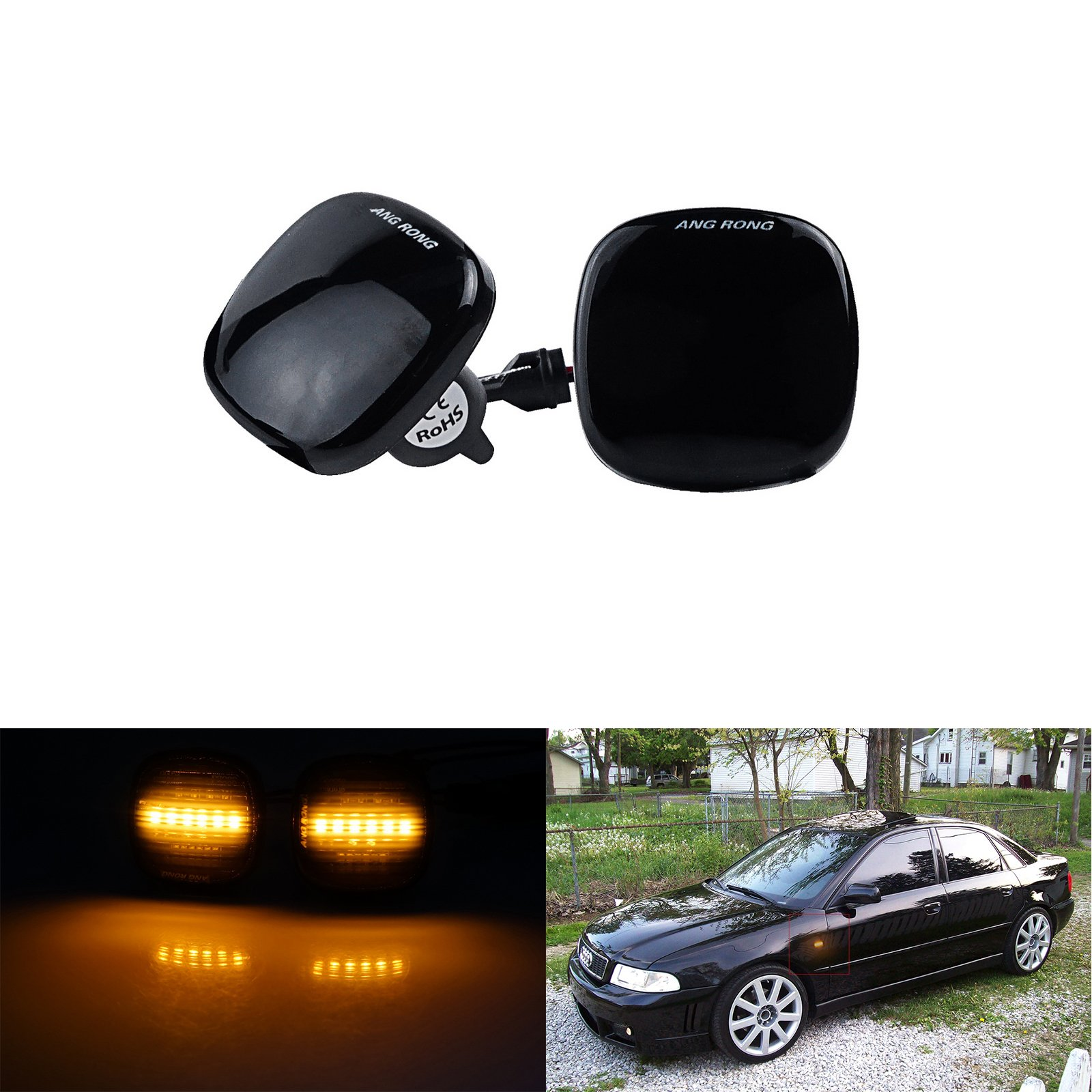 ANGRONG LED Side Marker Repeater Turn Signal Light Lamp Amber For Audi A3 8L A4 8D A8 4D