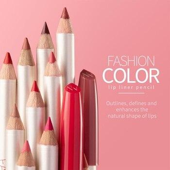 Delineador de labios de 12 Colores suave impermeable delineador de labios suave con niebla mate palo de madera de Color constante