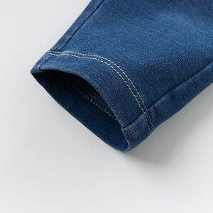 Image 4 - DB13617 dave bella baby girl  spring pants children full length denim blue kids solid pants infant toddler trousers