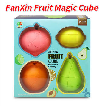 FanXin Fruit Magic Cube Pack Professional Stickerless Pear Orange Peach AppleLemon Banana Puzzle Game Speed Cubing Funny Toys - discount item  51% OFF Games And Puzzles
