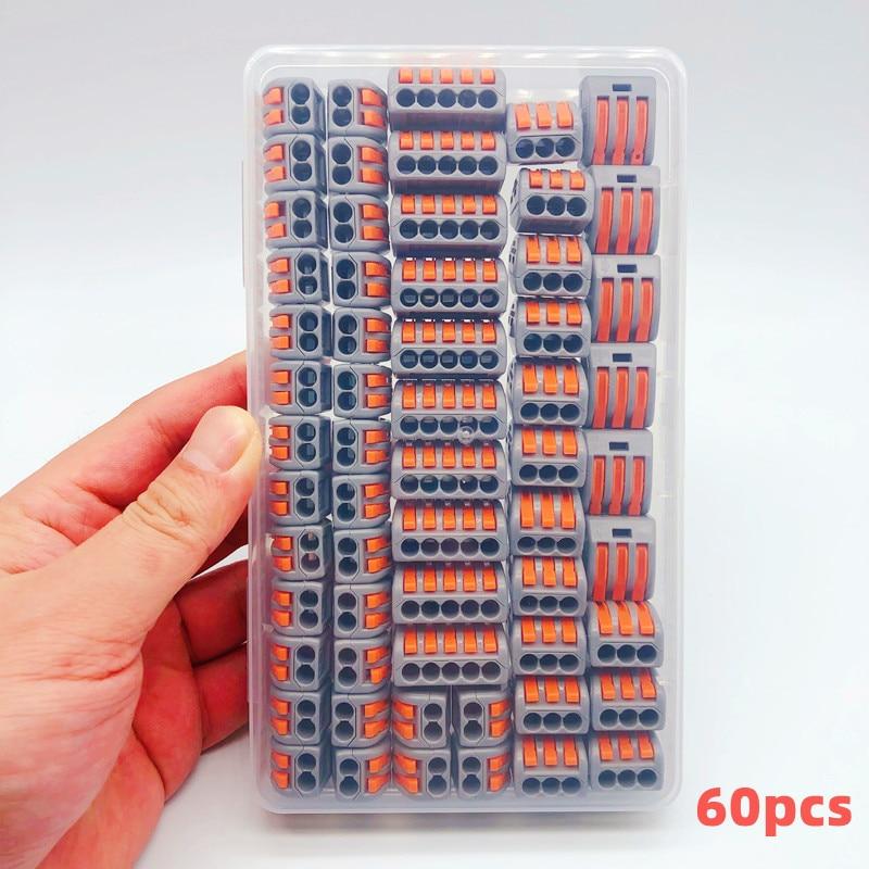 Terminal de conector de pct-212wiring para el hogar, caja de empalme rápido de software, accesorios de cable universales, tipo de enchufe, 60 uds.