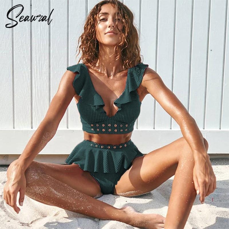 2020 New High Waist Bikini Swimwear Women Swimsuit Push Up Bikinis Women Bathing Suit Biquini Ruffle Bikini Summer Beach Wear