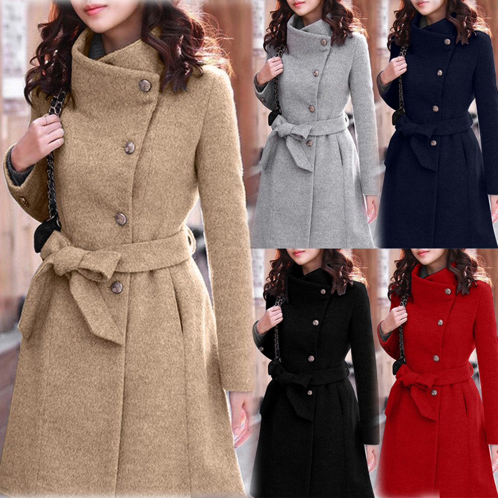 Womens Winter Lapel Wool Coat Trench Jacket Long Sleeve Overcoat Outwear Dropshipping size Leisure Work clothes free shipping