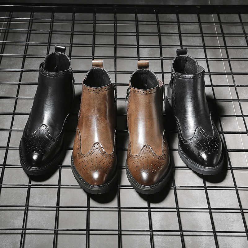 2019 sonbahar erkekler yarım çizmeler yüksek kalite lüks moda kauçuk chelsea çizmeler erkekler # PZ78095-2
