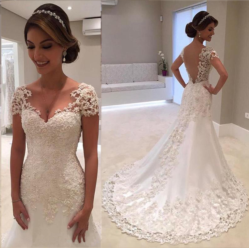 Lace Tulle Mermaid Wedding Dresses Capped Sleeves Appliques Sweep Train Wedding Gowns Backless Bride Dress Robe De Mariee