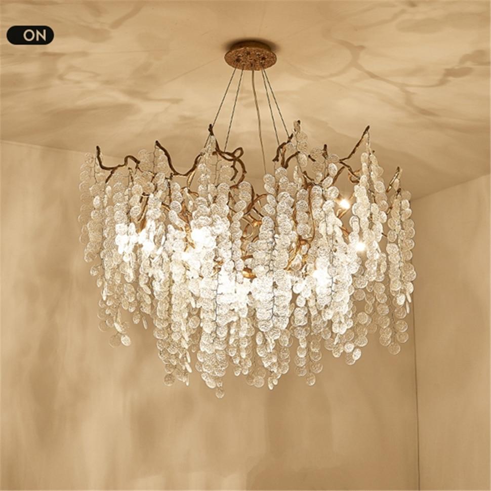 Современная роскошная хрустальная люстра, освещение, Скандинавское стекло, медные светильники, спальни, гостиной, люстры, круглая Подвесна...