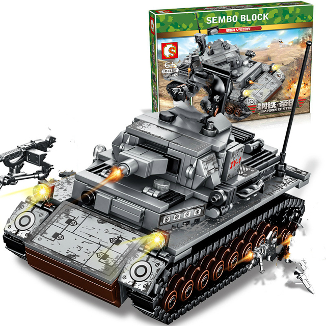 New 596pcs WW2 Tank Series Germany Iv Tank Building Blocks Model Bricks  WW2 Military Figures Toys For Kids