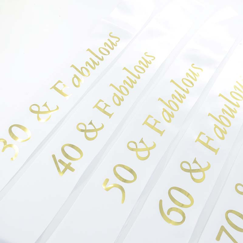 Blue White Black Fabulous Satin Sash for 30th 40th 50th 60th <font><b>70th</b></font> 80th <font><b>Birthday</b></font> Party Supplies Belt Gift Decoration image