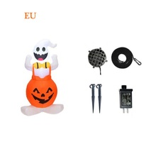 Tall LED Lighted Inflatable Pumpkin And Ghost Decoration  For Outdoor Indoor Home Garden Yard Halloween Decoration