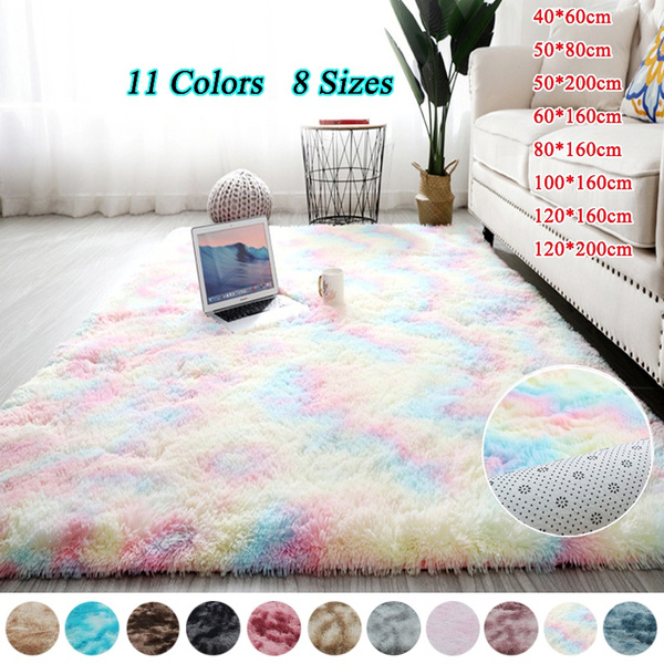 Rainbow Color Fluffy Carpets Anti-Skid Shaggy Tie-Dye Plush Area Rugs Living Room Bedroom Carpet Bedside Floor Mat Home Decor
