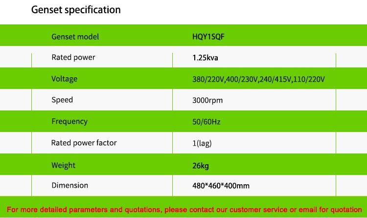Gasolina 1kw melhor preço mini gerador em bangladesh