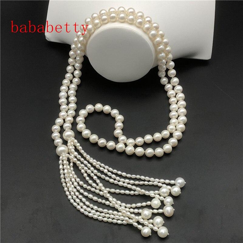 Nouveau collier d'eau douce naturelle 9-10MM perle 3-4MM forme de riz 50 pouces collier de chaîne de chandail de perle