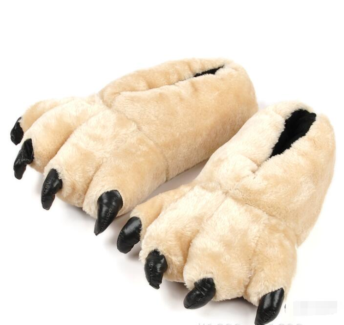 SunNY Everest 2018 Halloween Bear Paw Cotton Slippers Bear Claw Leopard Grain Men Party Shoes Home Indoor Slipper 28cm/30cm