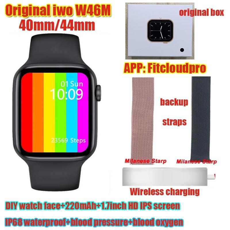 Оригинальные Смарт-часы iwo W46M Смарт-часы 2021 ЭКГ Беспроводная зарядка 40 мм 44 мм температура тела IP68 Водонепроницаемый DIY Face iwo W46