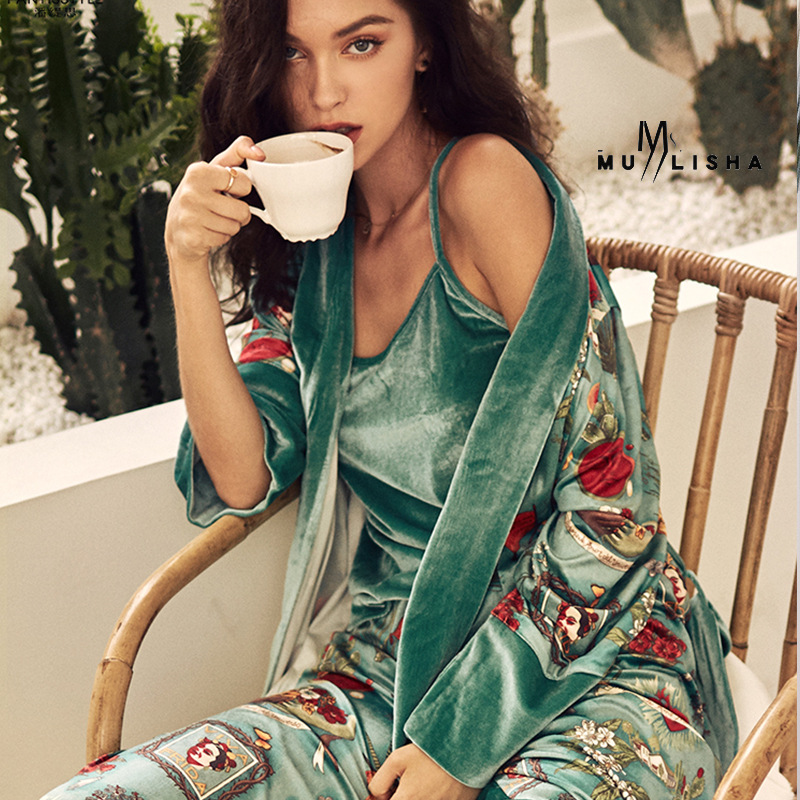 New Velvet Pajamas for Women,advanced Printed 3 Pajamas Sets, Comfortable Home Clothes , Pijama Mujer Sleepwear Nightwear