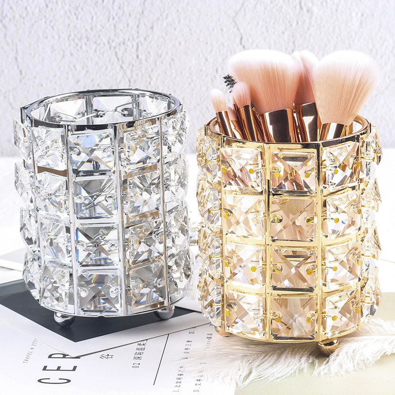 Makeup Brush Holder Storage Tube Europe Crystal Cosmetic Makeup Organizer Jewelry Lipstick Eyebrow Pencil Makeup Storage Box
