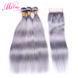 Image 1 - Ms Love Pre Colored Silver Grey Bundles With Closure Straight Remy Brazilian Human Hair Bundles With Closure