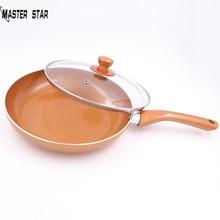 Master Star антипригарная медная сковорода для жарки с керамическим покрытием Сковорода& стеклянная крышка сковорода Индукционная сковорода
