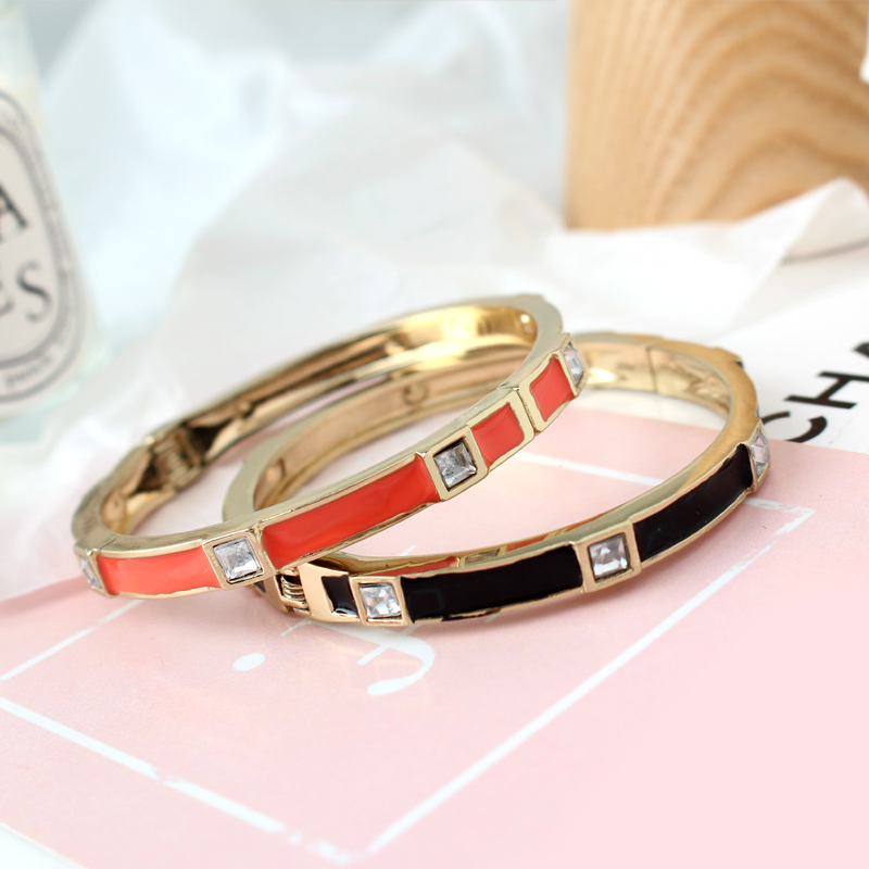Fashion Brand Women Bracelets & Bangles Open Cuff Design Enamel Crystal Bangle Luxury Gold Jewelry for Women Girl Party(China)